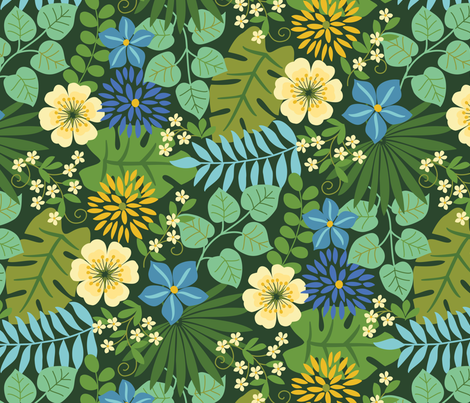 Tropical Yellow and Blue Flowers Dark Green fabric by barbarapixton on Spoonflower - custom fabric