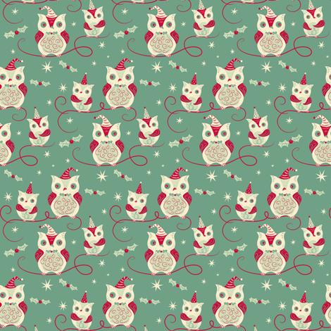 Holiday_Owl_Quartet_reduced fabric by johannaparkerdesign on Spoonflower - custom fabric