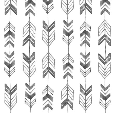 Rustic Watercolor Arrows // Charcoal Black and White fabric by hipkiddesigns on Spoonflower - custom fabric