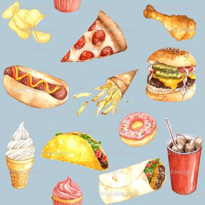 Junk Food Watercolor // Light Blue