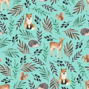 Cute animals blue pattern