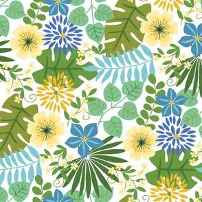 Tropical Yellow and Blue Flowers White