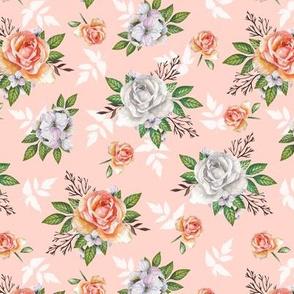Vintage roses. Pink pattern