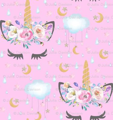 2 Quot Moon And Stars Sleepy Unicorn Pink Fabric