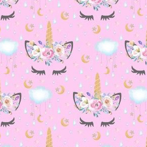 "2"" moon and stars sleepy unicorn pink"