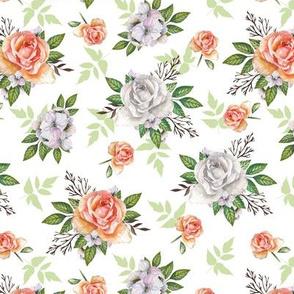 Vintage roses. White pattern