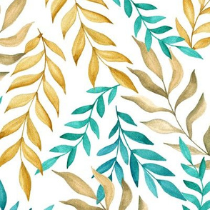 Leaf pattern. Mint and gold