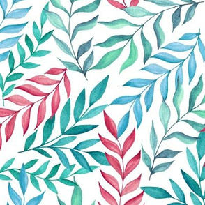 Leaf pattern. Pink and blue
