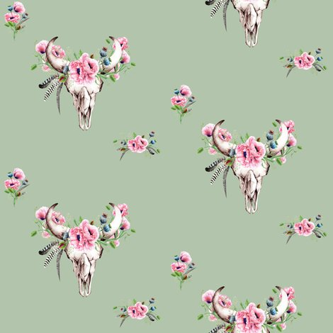 Boho_skull_and_pink_poppies_on_sage_copy_shop_preview
