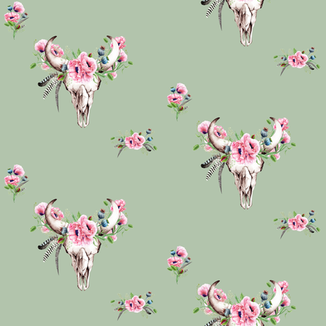 Boho Skull and Pink Poppies // Sage // Medium Scale fabric by hipkiddesigns on Spoonflower - custom fabric