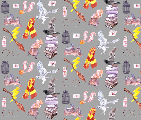 Wizard Symbols // Gray // Medium Scale fabric by hipkiddesigns on Spoonflower - custom fabric