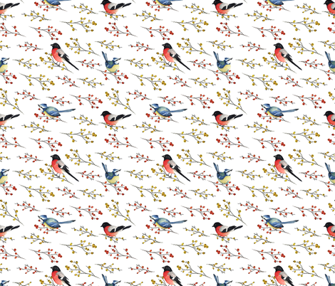 Cute birds fabric by juliabadeeva on Spoonflower - custom fabric