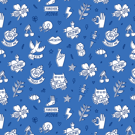 Cool tattoo fabric by stolenpencil on Spoonflower - custom fabric