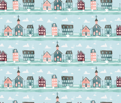 Pretty Little Village fabric by scarlette_soleil on Spoonflower - custom fabric