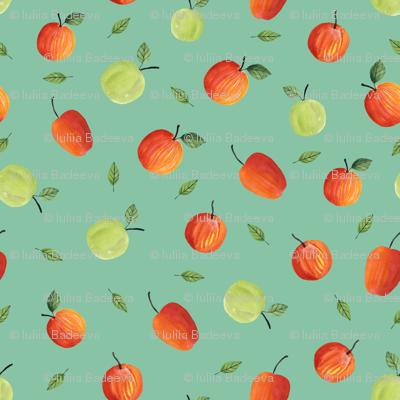 Ripe apples. Blue pattern