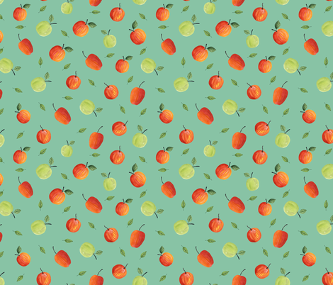 Ripe apples. Blue pattern fabric by juliabadeeva on Spoonflower - custom fabric