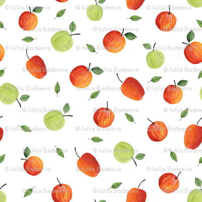 Ripe apples. White pattern