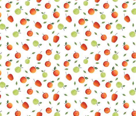 Ripe apples. White pattern fabric by juliabadeeva on Spoonflower - custom fabric