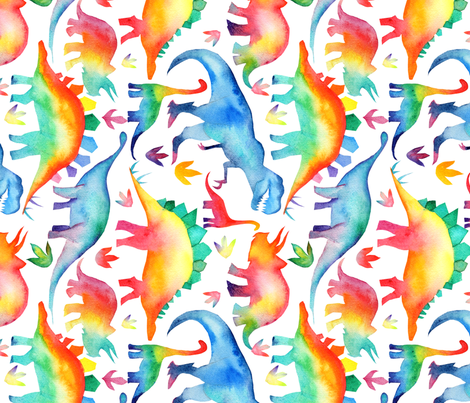 Rainbow Watercolour Dinosaurs - larger scale - rotated fabric by emeryallardsmith on Spoonflower - custom fabric