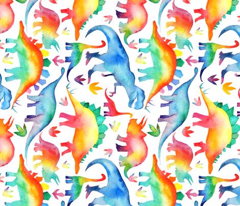 Rainbow Watercolour Dinosaurs - larger scale - rotated fabric by emmaallardsmith on Spoonflower - custom fabric