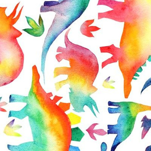 Rainbow Watercolour Dinosaurs - larger scale - rotated