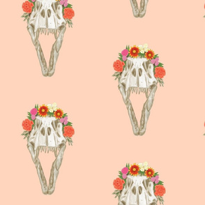 Large T Rex Skull with Flowers on Light Pink