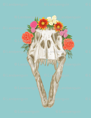 Large T Rex Skull with Flowers on Light Blue