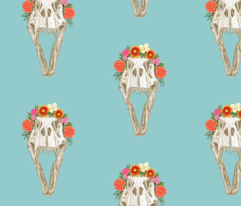 Large T Rex Skull with Flowers on Light Blue fabric by landpenguin on Spoonflower - custom fabric