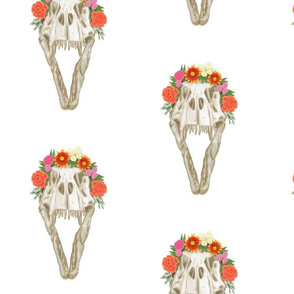 Large T Rex Skull with Flowers on White