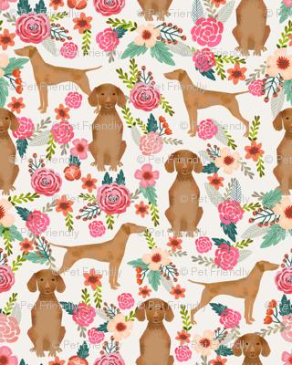 vizsla floral dog fabric florals dog design light cream