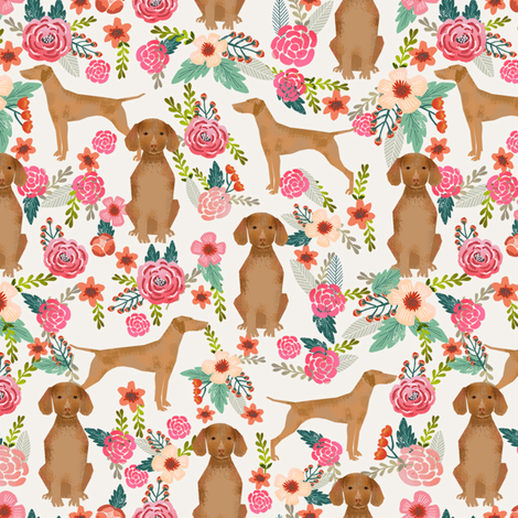 vizsla floral dog fabric florals dog design light cream fabric by petfriendly on Spoonflower - custom fabric
