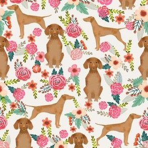 vizsla floral dog fabric florals dog design light cream