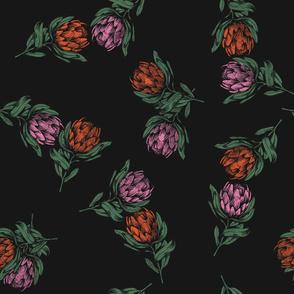 Protea Floral - Black