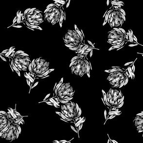 Protea Floral - Black/White