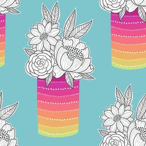 Flower Vase on Aqua
