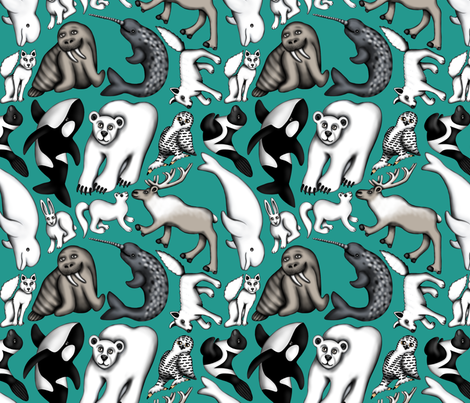 Wonky Arctic Animals fabric by willowbirdstudio on Spoonflower - custom fabric