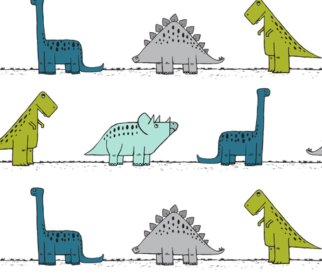 (jumbo scale) dinos on parade - multi  fabric by littlearrowdesign on Spoonflower - custom fabric