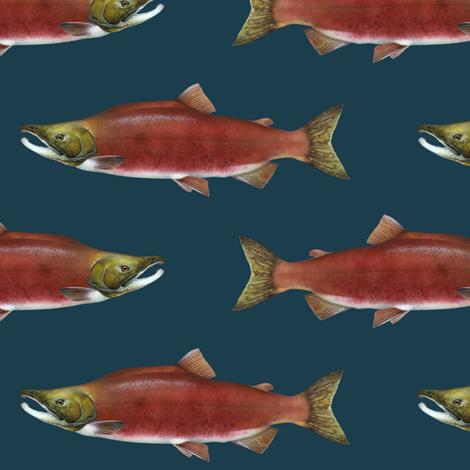sockeye salmon on 1d3d4c navy fabric by weavingmajor on Spoonflower - custom fabric