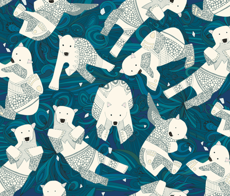 arctic polar bears blue fabric by scrummy on Spoonflower - custom fabric