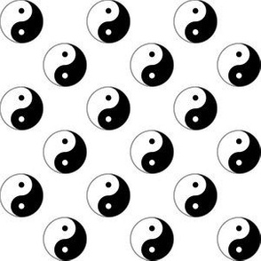 One Inch Black and White Yin Yang Symbols on White