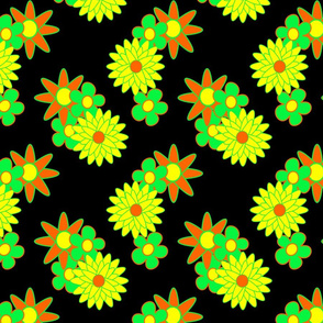 simple flowers - orange yellow green  black