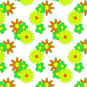 simple flowers - orange yellow  green  white