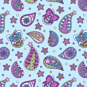 Tossed Christmas Paisley: Playful Pastel