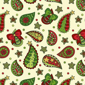 Tossed Christmas Paisley: Traditional Tones