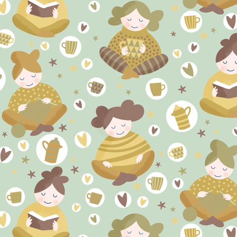 hygge happy feel good time fabric by lilalunis on Spoonflower - custom fabric