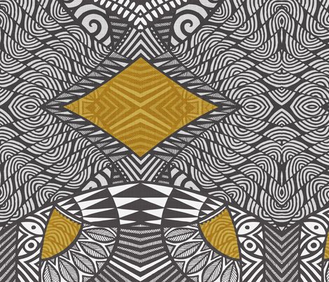 Tribal Wings charcoal and gold fabric by spellstone on Spoonflower - custom fabric