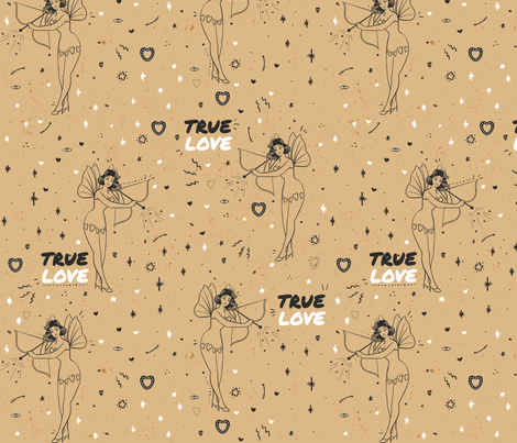 Vintage True Love Pin Up Tattoo fabric by how-store on Spoonflower - custom fabric