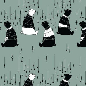 Winter bears on green