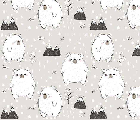 Just Another Beary Cute Pattern  fabric by how-store on Spoonflower - custom fabric