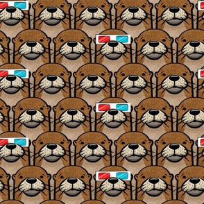 otters with 3D glasses